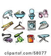 Royalty Free RF Clipart Illustration Of A Digital Collage Of A Shower Head Bath Tub Toilet Toilet Paper Clothespin Hanger Washing Machine Iron Vacuum Dustpan Bucket And Ironing Board