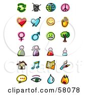 Royalty Free RF Clipart Illustration Of A Digital Collage Of Ecology Love Emoticon People Housing Music Reading Communications And Fire by NL shop