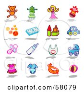 Royalty Free RF Clipart Illustration Of A Digital Collage Of Children And Baby Toy Items by NL shop