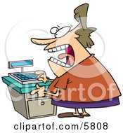 Stressed Out Clerk Woman At A Cash Register In A Store