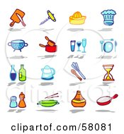 Royalty Free RF Clipart Illustration Of A Digital Collage Of Kitchen Tools And Condiments