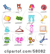 Royalty Free RF Clipart Illustration Of A Digital Collage Of Furniture And Household Items