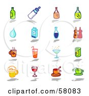 Royalty Free RF Clipart Illustration Of A Digital Collage Of Bottles Water Milk Condiments And Beverages