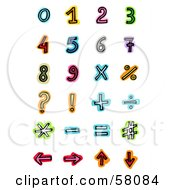 Digital Collage Of Colorful Mathematic Numbers And Symbols
