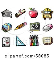Digital Collage Of A Graduation Cap Diploma Apple School Bus Books Pencil Chalkboard Eraser Notepad Ruler And Crayons