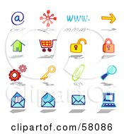 Royalty Free RF Clipart Illustration Of A Digital Collage Of Internet At Www Arrow Home Shopping Cart Padlock Gears Key Paperclip Search Email by NL shop