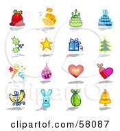 Digital Collage Of Christmas Pudding Bread Cake Holly Star Gift Tree Confetti Bauble Hearts Easter Eggs Rabbit And A Bell