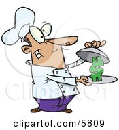 Male Chef Serving A Dollar Sign On A Platter Clipart Illustration