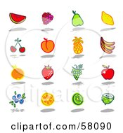 Royalty Free RF Clipart Illustration Of A Digital Collage Of Watermelon Raspberry Pear Lemon Cherry Apricot Pineapple Banana Orange Strawberry Grape Apple Blueberry Kiwi And Coconut Fruits
