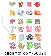 Royalty Free RF Clipart Illustration Of A Digital Collage Of Colorful Zodiac Signs And Symbols