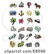 Royalty Free RF Clipart Illustration Of A Digital Collage Of A Bike Sailboat Air Balloon Horse Bus Anchor Sun Cactus Tree Starfish Umbrella Sunglasses Boot Canoe Camper Ping Pong Lounger Swim Fins Badminton Picnic Footprints Floatie