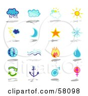 Royalty Free RF Clipart Illustration Of A Digital Collage Of Clouds Moon Star Snowflake Globe Water Fire Arrows Anchor And Gender by NL shop