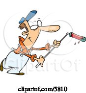 Man Using A Long Paint Roller While Painting Clipart Illustration by toonaday