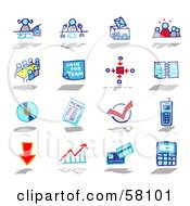 Digital Collage Of Blue And Red Business Icons