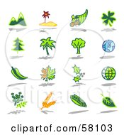 Royalty Free RF Clipart Illustration Of A Digital Collage Of Mountains Island Horn Of Plenty Clover Trees Gloves Peppers Leaves Wheat And Corn