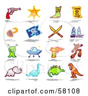 Digital Collage Of A Gun Sheriff Badge Boot Wanted Sign Hook Pirate Flag Swords Ship Alien Ufo Laser Gun Robot Triceratops Brontosaurus Stegosaur And T Rex