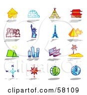 Royalty Free RF Clipart Illustration Of A Digital Collage Of Architecture Travel And Tourist Attractions by NL shop
