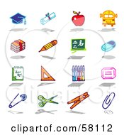 Digital Collage Of A Graduation Cap Diploma Apple Bus Books Pencil Chalkboard Eraser Note Book Ruler Crayons Safety Pin Scissors Clothes Pin And Paperclip