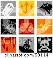 Digital Collage Of Colorful Ghost Devils Pitchfork Vampire Bat Spider Pumpkin Candy Fangs Witch Hat And Skull Icons