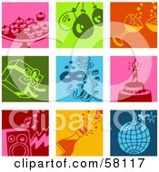 Royalty Free RF Clipart Illustration Of A Digital Collage Of Colorful Appetizer Balloon Champagne Present Confetti Cake Music And Disco Icons by NL shop