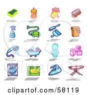 Digital Collage Of A Sponge Soap Glove Brush Spray Bottle Vacuum Dust Pan Bucket Shower Bath Toilet Toilet Paper Washing Machine Oven Iron Ironing Board