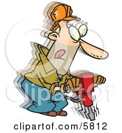 Construction Worker Man Operating A Jackhammer Tool Clipart Illustration