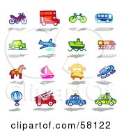 Royalty Free RF Clipart Illustration Of A Digital Collage Of An Atv Double Decker Bus Bike Bus Car Airplane Boat Train Horse Sailboat School Bus Snow Mobile Air Balloon Fire Truck Police Car And Taxi