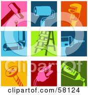 Digital Collage Of A Hammer, Paint Brush, Wrench, Pipe, Ladder, Drill, Screw, Plug And Tube Icons