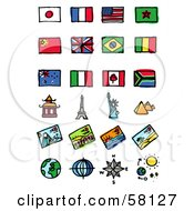 Royalty Free RF Clipart Illustration Of A Digital Collage Of Flags And Tourist Attractions by NL shop