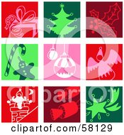 Digital Collage Of Colorful Gift Christmas Tree Holly Candy Cane Bauble Angel Santa Cracker And Star Icons