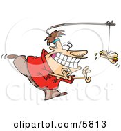 Man Chasing A Hotdog On A Stick Attached To His Head Clipart Illustration