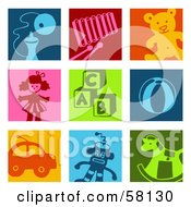 Digital Collage Of Colorful Toy Icon Squares