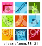 Royalty Free RF Clipart Illustration Of A Digital Collage Of Colorful First Aid Kit Thermometer Medicine Pills Stethoscope Bandage And Syringe Icons