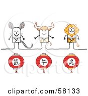 Royalty Free RF Clipart Illustration Of Chinese Zodiac Years Of The Rat Ox And Tiger Stick People Characters