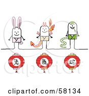 Royalty Free RF Clipart Illustration Of Chinese Zodiac Years Of The Rabbit Dragon And Snake Stick People Characters