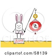 Royalty Free RF Clipart Illustration Of A 2011 Year Of The Rabbit Chinese Zodiac Stick People Character