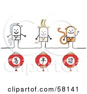 Royalty Free RF Clipart Illustration Of Chinese Zodiac Years Of The Horse Ram And Monkey Stick People Characters