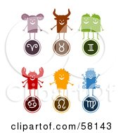 Royalty Free RF Clipart Illustration Of A Digital Collage Of Aries Taurus Gemini Cancer Leo And Virgo Characters And Symbols