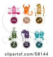 Digital Collage Of Libra Scorpio Sagittarius Capricorn Aquarius And Pisces Characters And Symbols
