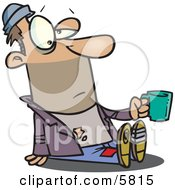 Homeless Beggar Man Sitting On The Ground Asking For Money Clipart Illustration by toonaday