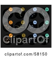 Royalty Free RF Clipart Illustration Of A Digital Collage Of Star Constellations And Zodiac Symbols