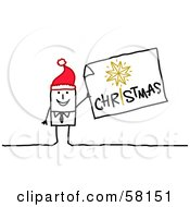 Royalty Free RF Clipart Illustration Of A Stick People Character Man Wearing A Santa Hat And Holding A Christmas Sign by NL shop