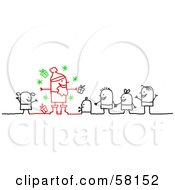 Royalty Free RF Clipart Illustration Of A Stick People Character Family In Line To See Santa Claus by NL shop