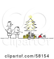 Stick People Character Family Standing By A Christmas Tree