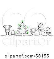 Royalty Free RF Clipart Illustration Of A Stick People Character Family Decorating A Christmas Tree by NL shop