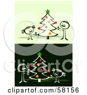 Royalty Free RF Clipart Illustration Of Stick People Character Children Decorating A Christmas Tree