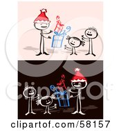 Royalty Free RF Clipart Illustration Of A Stick People Character Dad And Children With Christmas Gifts
