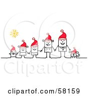 Royalty Free RF Clipart Illustration Of A Stick People Character Family And Dog Holding Hands And Wearing Santa Hats by NL shop