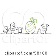 Royalty Free RF Clipart Illustration Of A Stick People Character Family With A Giant Easter Egg by NL shop