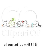 Royalty Free RF Clipart Illustration Of Stick People Character Children Hunting Large And Small Easter Eggs